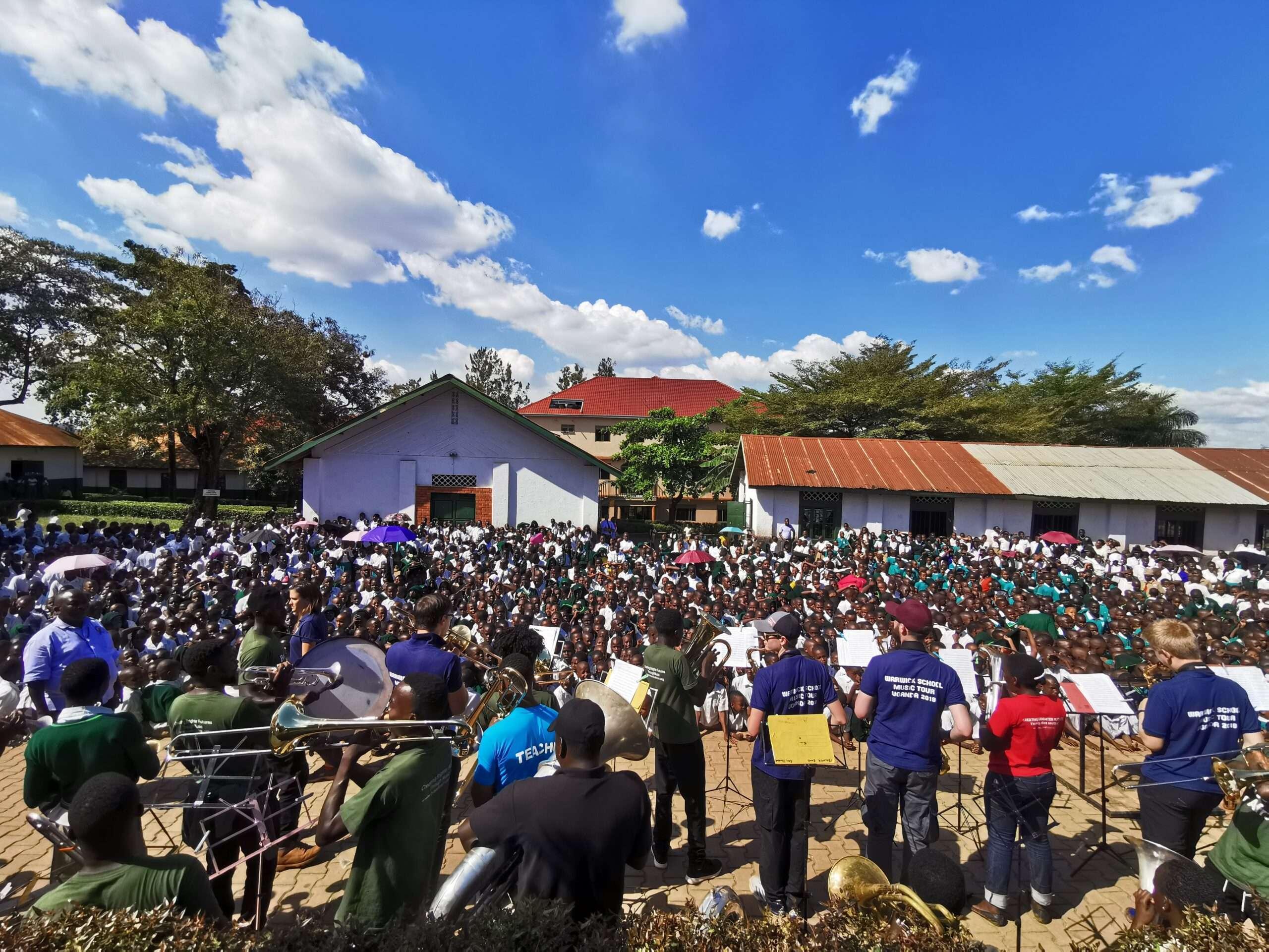 Warwick school tour to uganda - concert at huge primary school