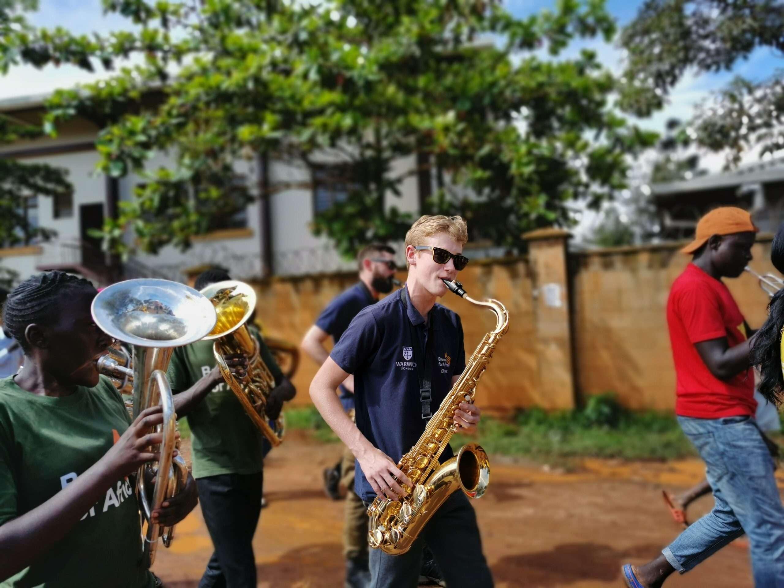 Warwick school tour to uganda - marching